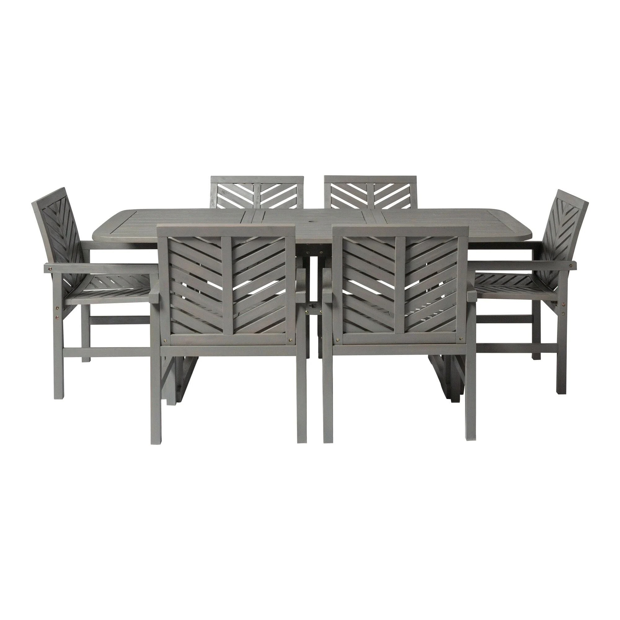 7 piece extendable outdoor patio dining set grey wash by walker edison