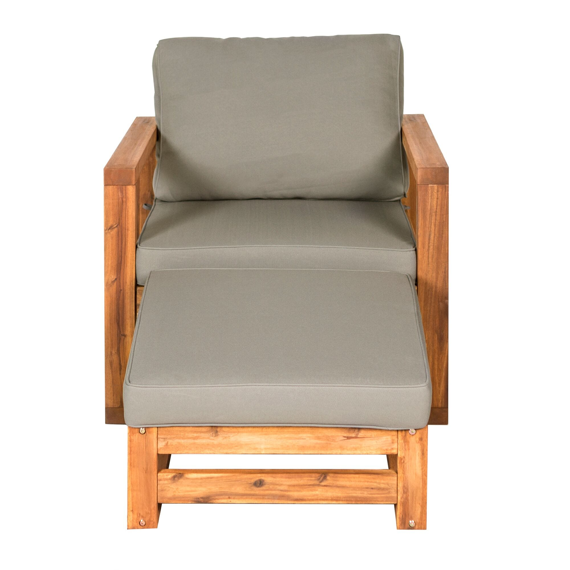 modern patio chair and ottoman brown by walker edison