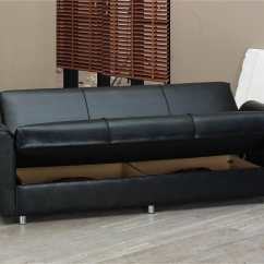 Black Leather Sleeper Sofa Set Navy Striped Harlem Bed By Empire Furniture Usa