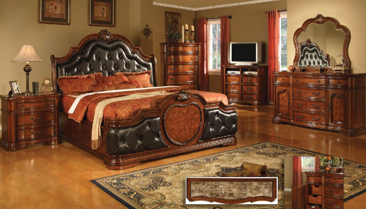 Coronado Cherry wMarble Top Bedroom Set by Mainline