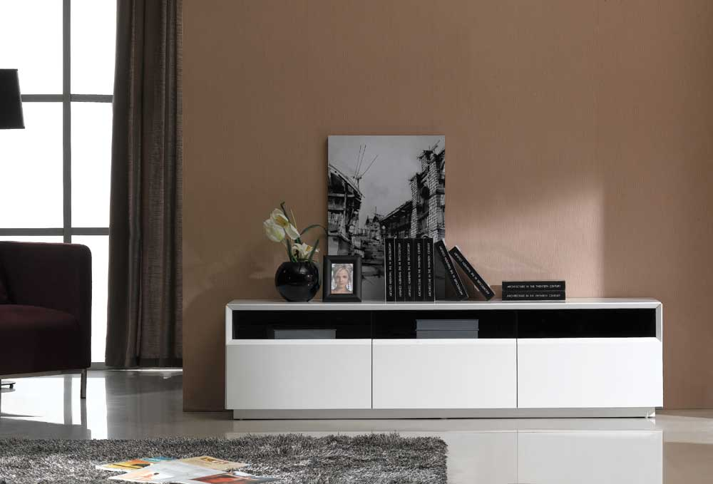 TV023 White Gloss TV Stand Black by JM Furniture