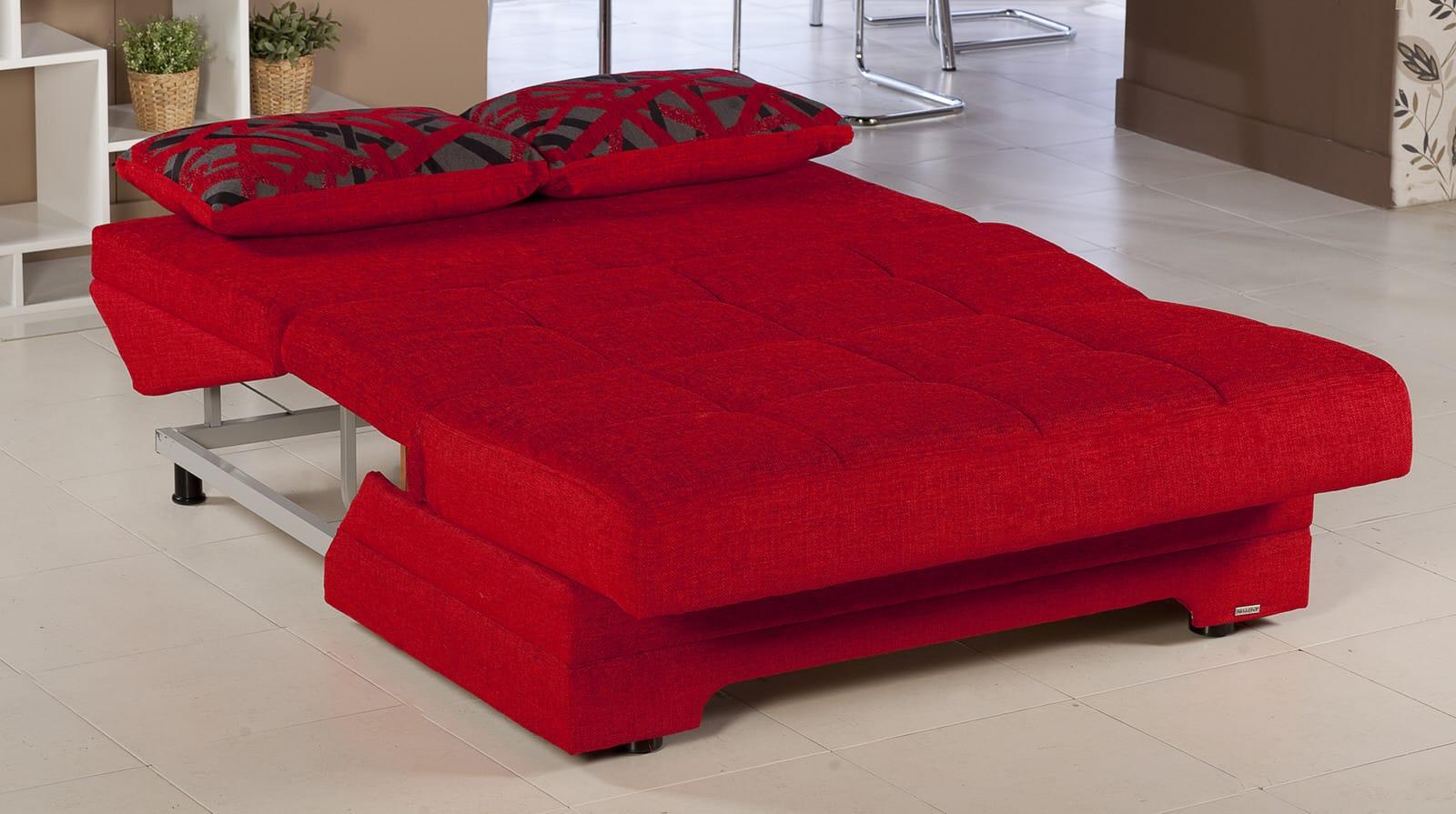 Twist Story Red Loveseat Sleeper by Istikbal Sunset