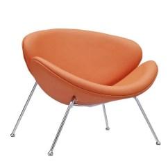 Orange Upholstered Chair Revolving Net Nutshell Vinyl Lounge By Modern Living