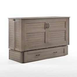 Poppy Brushed Driftwood Queen Murphy Cabinet Bed