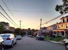 Sun setting on our street.