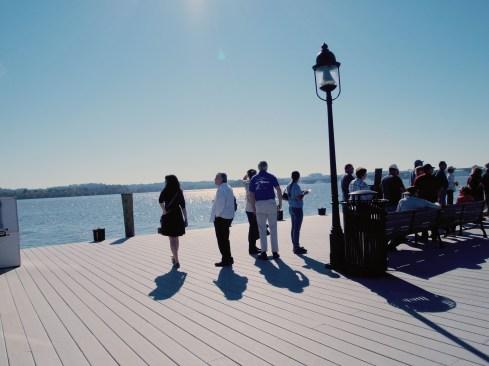 Peeps on a pier.