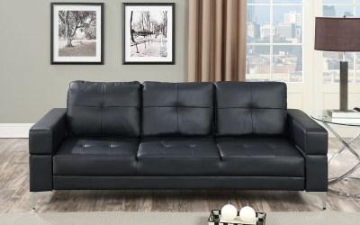 Adjustable Sofa – Black Faux Leather