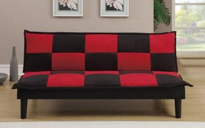 Adjustable Sofa – Black/Red Microfiber