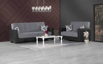 Armada Futon Sofa & Loveseat Black Leatherette Gray Fabric