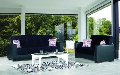 Armada Futon Sofa & Loveseat Black Leatherette Black Microfiber