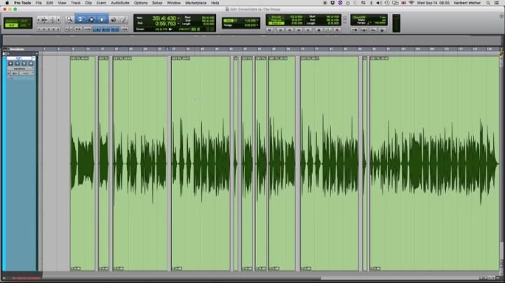 Uma faixa de voz com várias edições