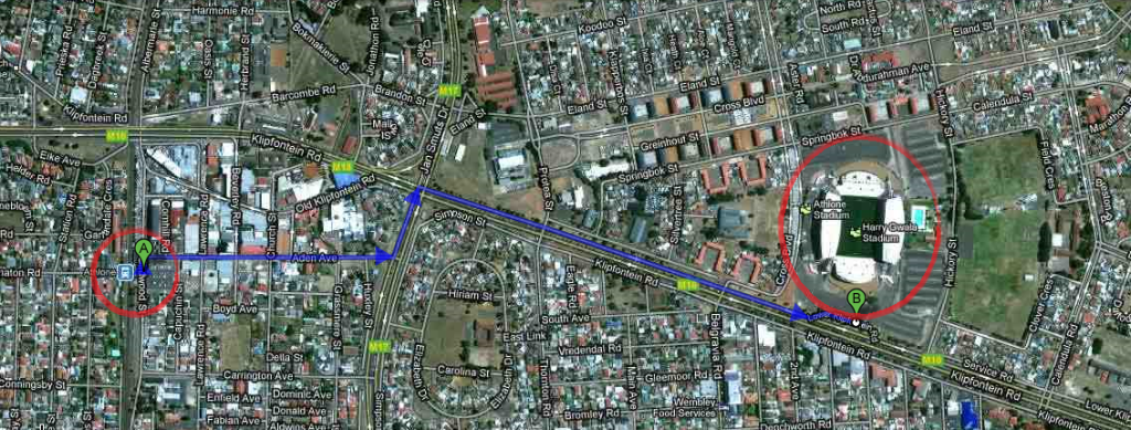 IDEA: 1.6km Fan Walk from Athlone Train Station to Athlone Stadium.