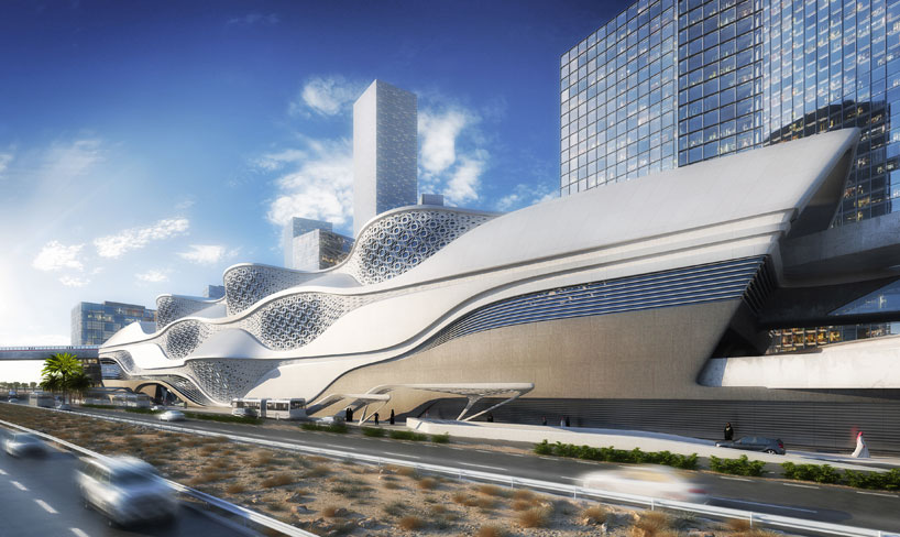Exterior view of the station in context as it borders the developing King Abdullah financial district. Source: