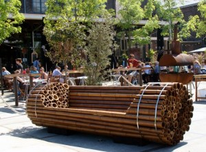 A Bamboo Bench designed by Dutch artists Elena Gary and Christoph Töngas