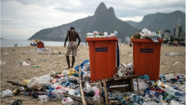 Rio's famous Ipanema beach remained cluttered with litter for days, Source: AFP