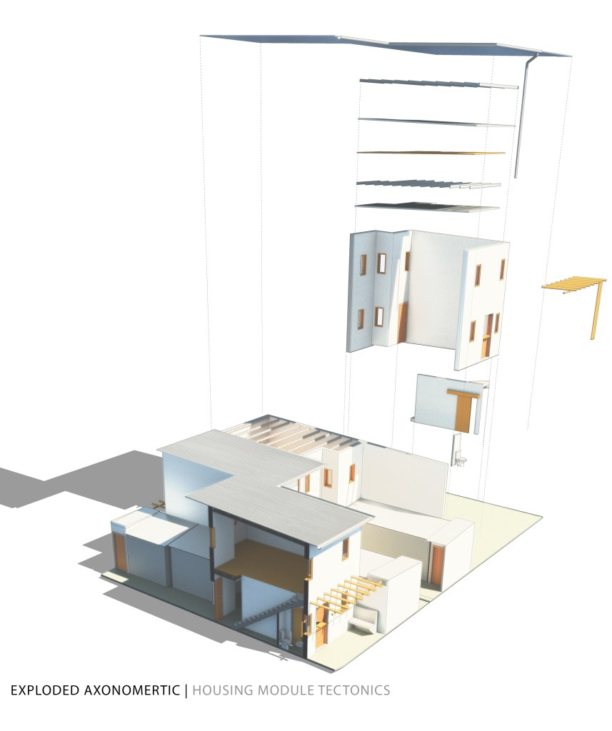 Exploded axonometric of the housing module