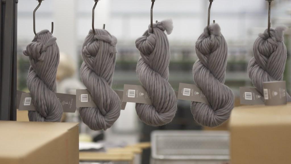 Yarns hanging at Laxtons Ltd