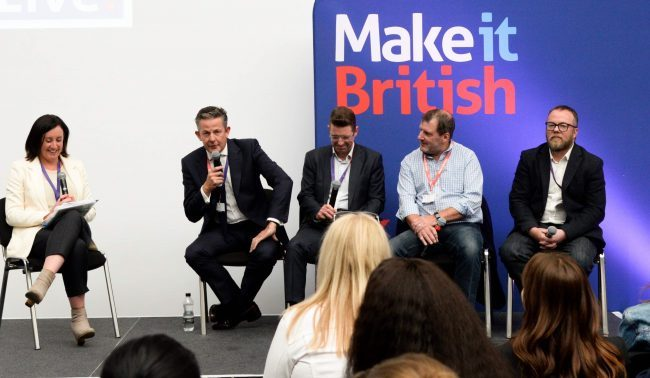 Craftsmanship versus Technology panel at Make It British Live! 2019, with Lucy Siegle, Nick Keyte, Prof. Stephen Russell, Mark Randle, Andy Ogden