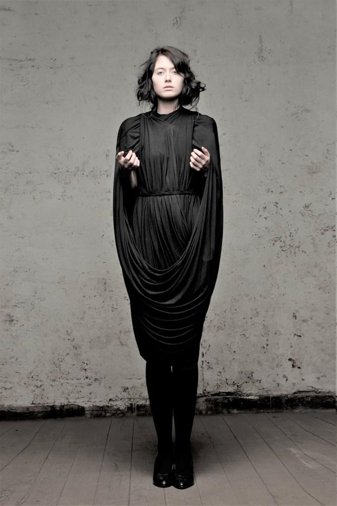Cunnington & Sanderson's black zero-waste Loop Dress