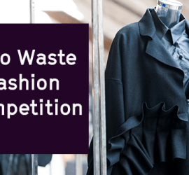 Black outfit on a mannequin with caption 'Zero Waste Competition'
