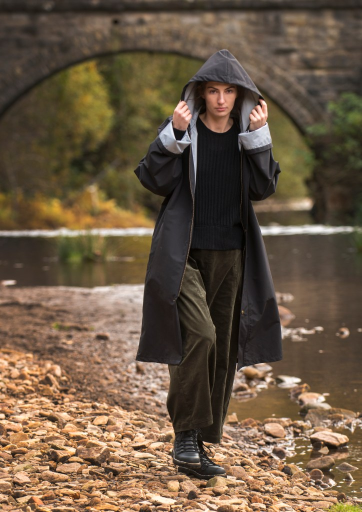 Model wears Nomad long hooded jacket, sweater, toursers and boots. Image: Chris Sedgewick