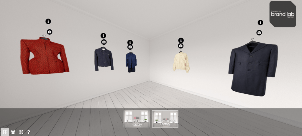 The five Wool Week pieces hanging in a virtual white showroom by BrandLab Fashion