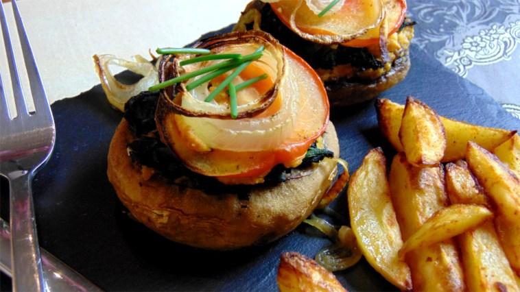 gefüllte champignons käsecreme potato wedges