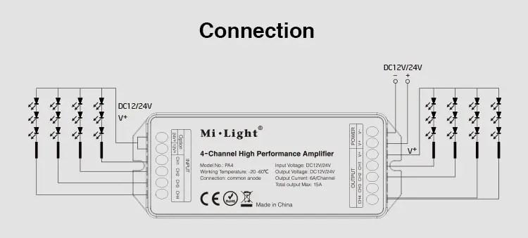 Mi-Light 4-Channel High-Performance Amplifier PA4 Signal