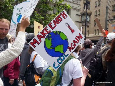 MAKE EARTH COOL AGAIN protest sign with a hot thermometer