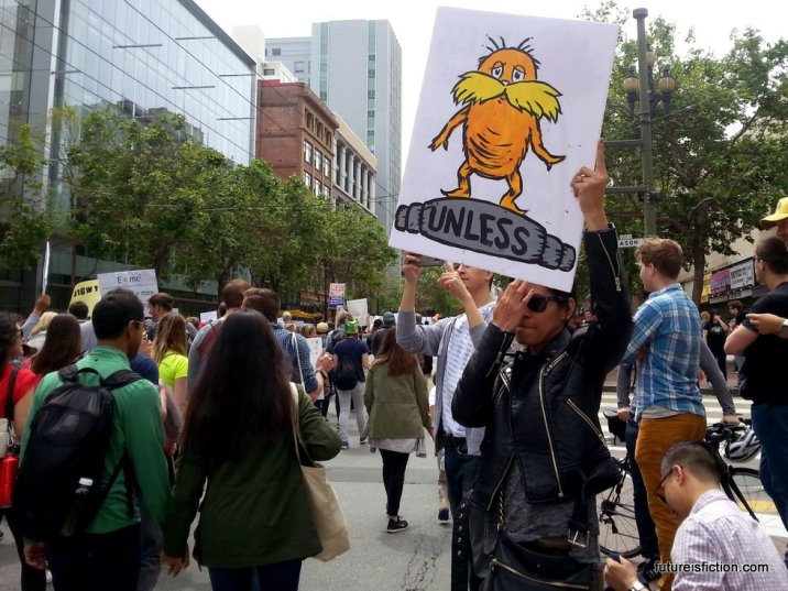 A protest sign with the Lorax