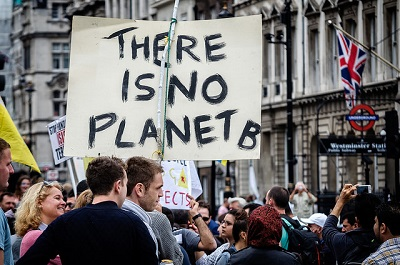 There is no planet B protest sign at climate rally