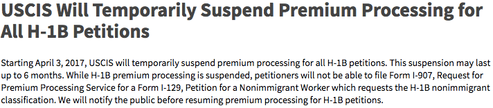 The temporary suspension of H-1B premium processing and academia