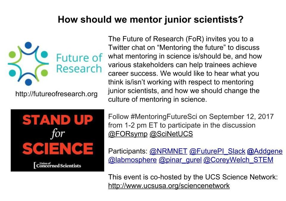 How should we mentor junior scientists? Reflections from a Twitter chat