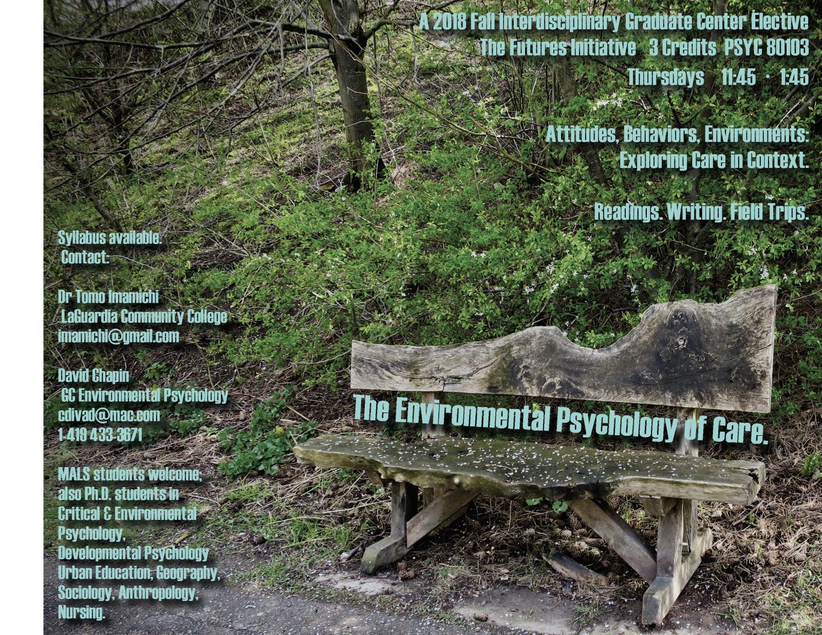 Flyer promoting Environmental Psychology of Care - outdoor scene with text