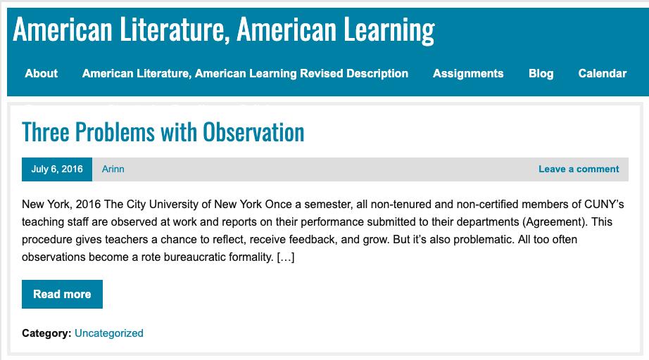 Screenshot of American Literature, American Learning website