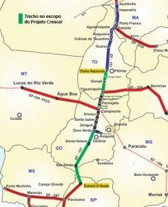 Trecho entre Porto Nacional (TO) e Estrela D'Oeste (SP) está no escopo do Projeto Crescer