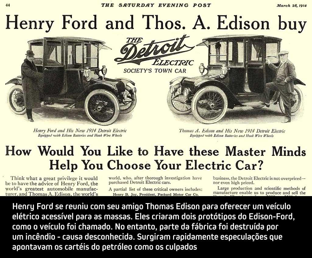 A história dos veículos elétricos - Edison - Ford