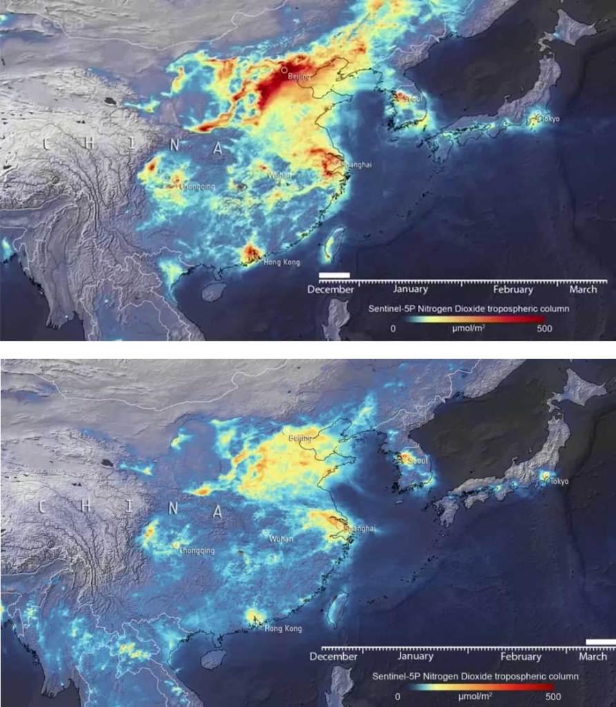 coronavírus diminui a poluição