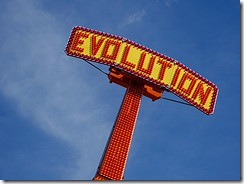 Evolution fairground sign