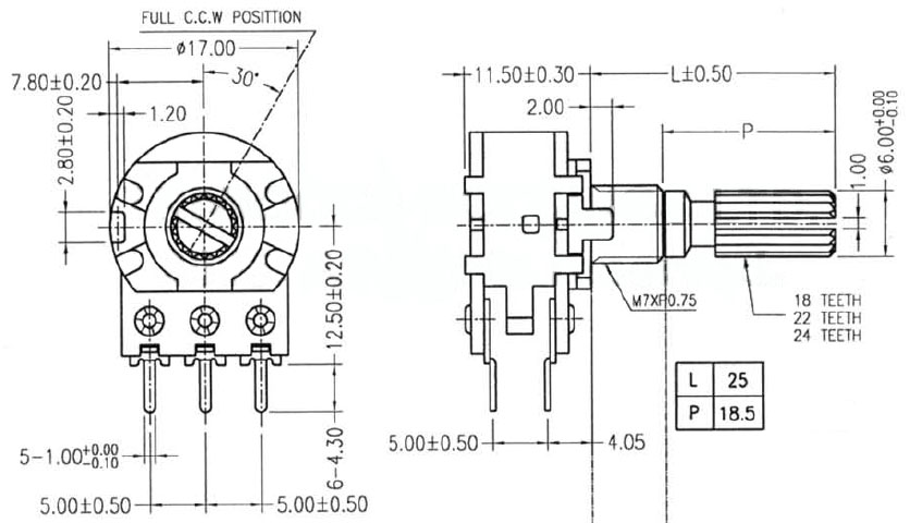 1M ohm Logarithmic Rotary Potentiometer with Switch