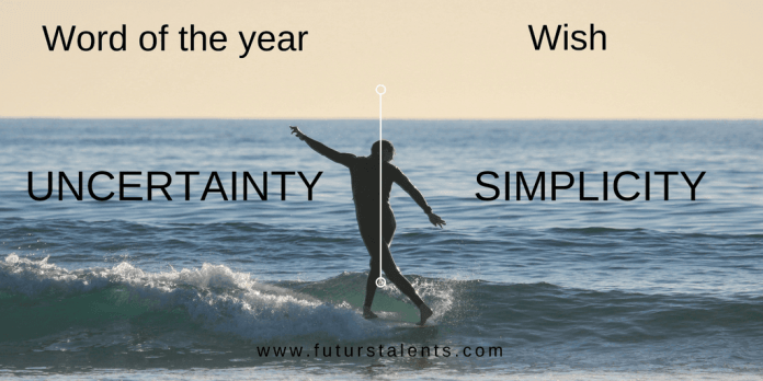 Mot de l'année Post UNCERTAINTY vs SIMPLICITY - Word of the year - Blog FutursTalents - Jean-Baptiste Audrerie 2016