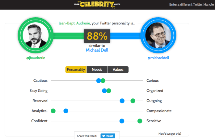 Personality insight powered by Watson_Celebrity Match_Jean-Baptiste Audrerie