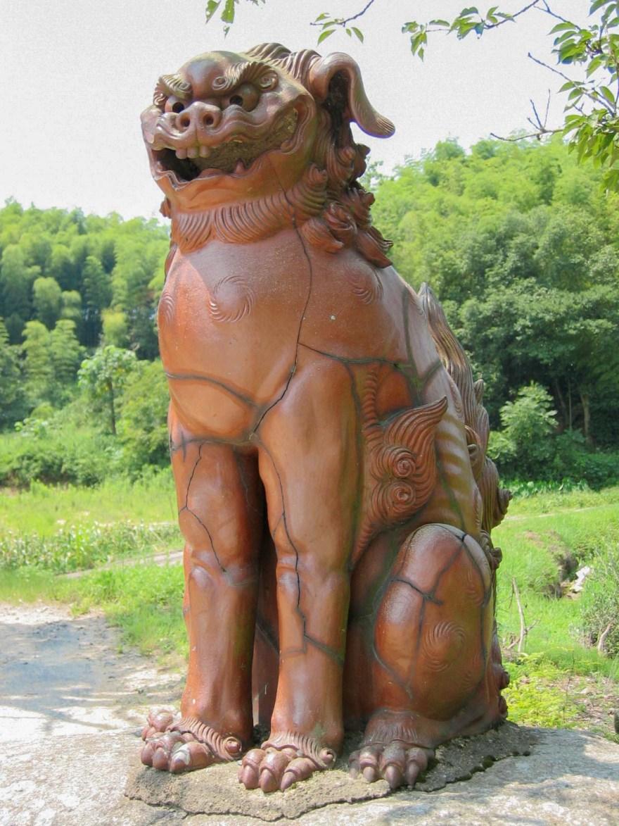安仁神社:参道 狛犬