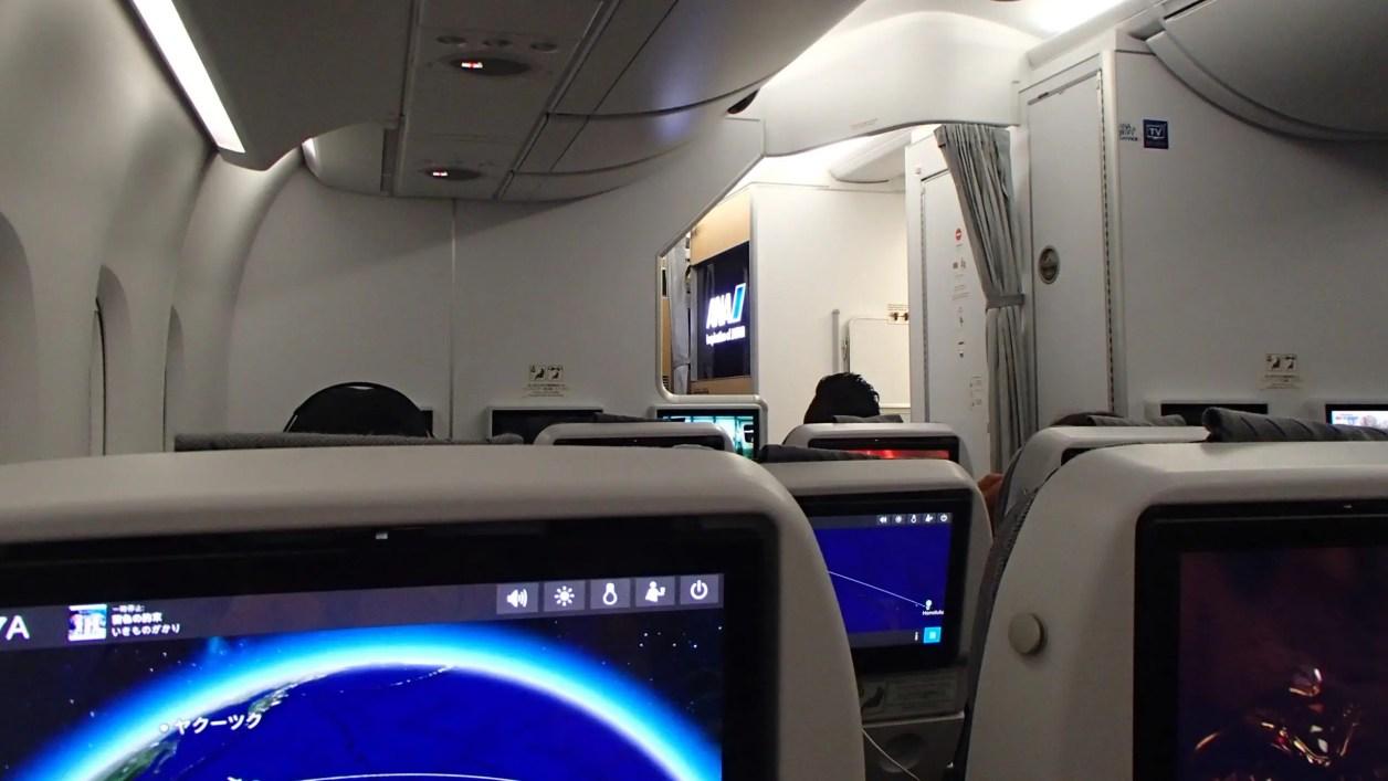 """ANAのA380""""Flying Honu""""の機内"""