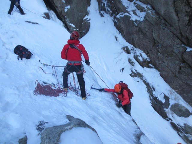 小滝前の登攀確保