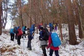 陣馬形山の登り。うっすら雪があるが、アイゼンなしでOK