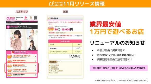 【ぴゅあらば】業界最安値&1万円で遊べるお店リニューアルのお知らせ