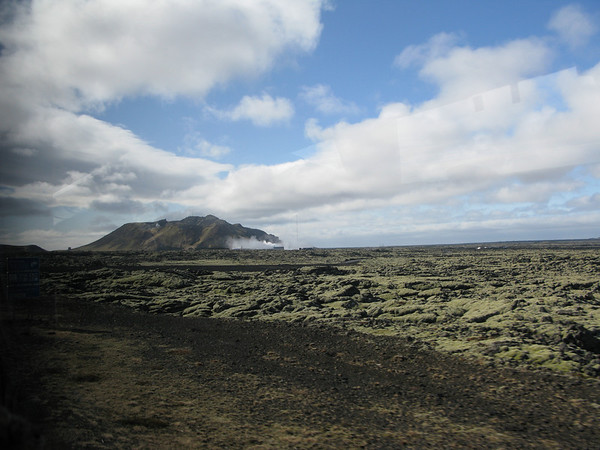 Approaching the Blue Lagoon in Iceland - Lunar-like landscape