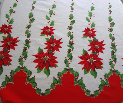 this piece is also vintage it is a border print and it may look like one side of a tablecloth but it is cotton broadcloth and was perfect for aprons - Vintage Christmas Fabric