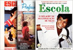 Antes de NOVA ESCOLA, a editora Abril lançou dois títulos voltados aos professores: Escola, em 1972, e Professora Querida, em 1983. As imagens mostram a primeira capa dos dois títulos e o primeiro exemplar de NOVA ESCOLA, de 1986